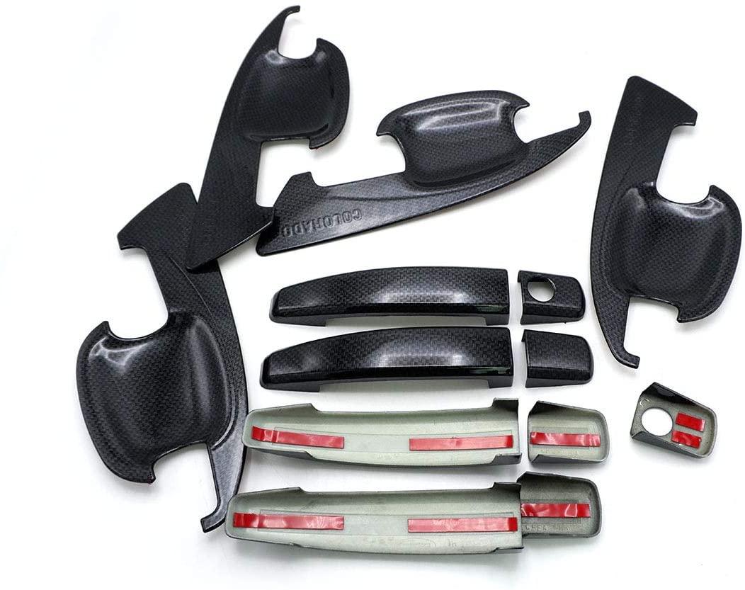 Nonstops Set Handle Hand Bowl Insert Cover Carbon Black Fits Chevrolet Colorado 2012 19