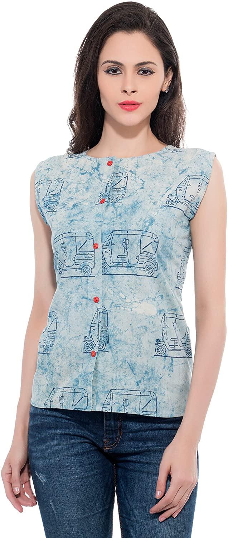 RESHA Women's Indigo Handloom Block Print Cotton Sleeveless Round Neck Blouse Top Tshirt