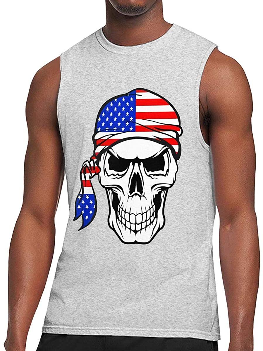 American Warrior Flag Skull Sleeveless Cotton T-Shirts Gym Fitness Singlet Vest for Men