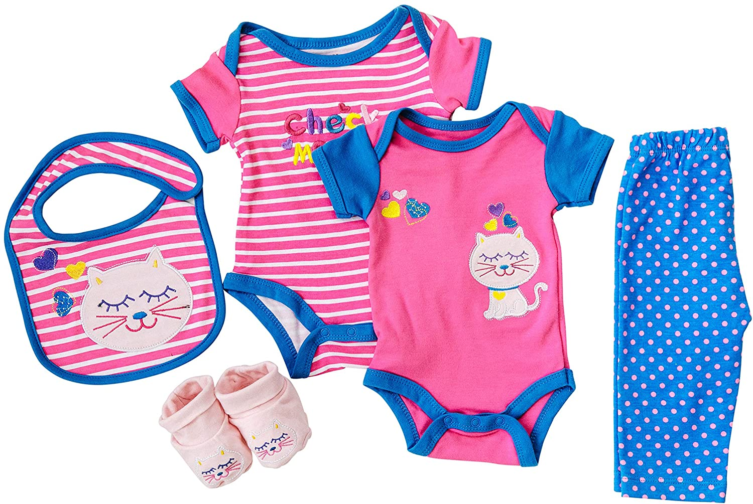 5 Piece Baby Clothes Set, Check Meowt Set, 2 Onsies, One Set of Pants, One Bib, and One Set of Booties, 100% Cotton