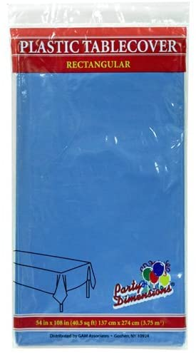 Plastic Party Tablecloths - Disposable, Rectangular Tablecovers - 8 Pack - Medium Blue - By Party Dimensions
