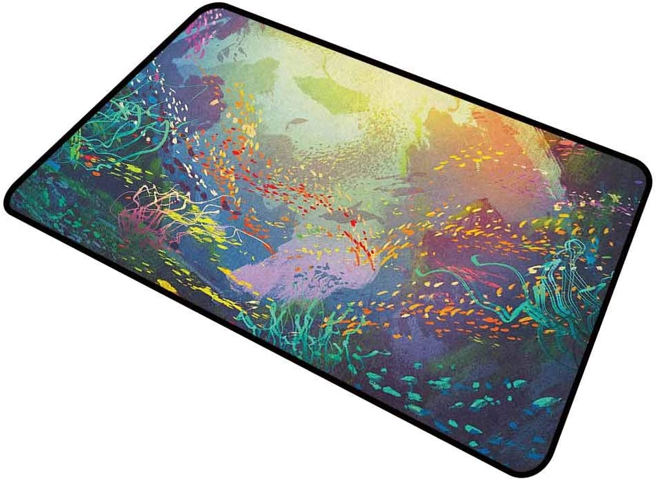 shirlyhome Indoor Doormat Sea Animals for Entrance Way Indoor Washable Underwater with Coral Reef and Colorful Fish Aquarium Artistic Print 30