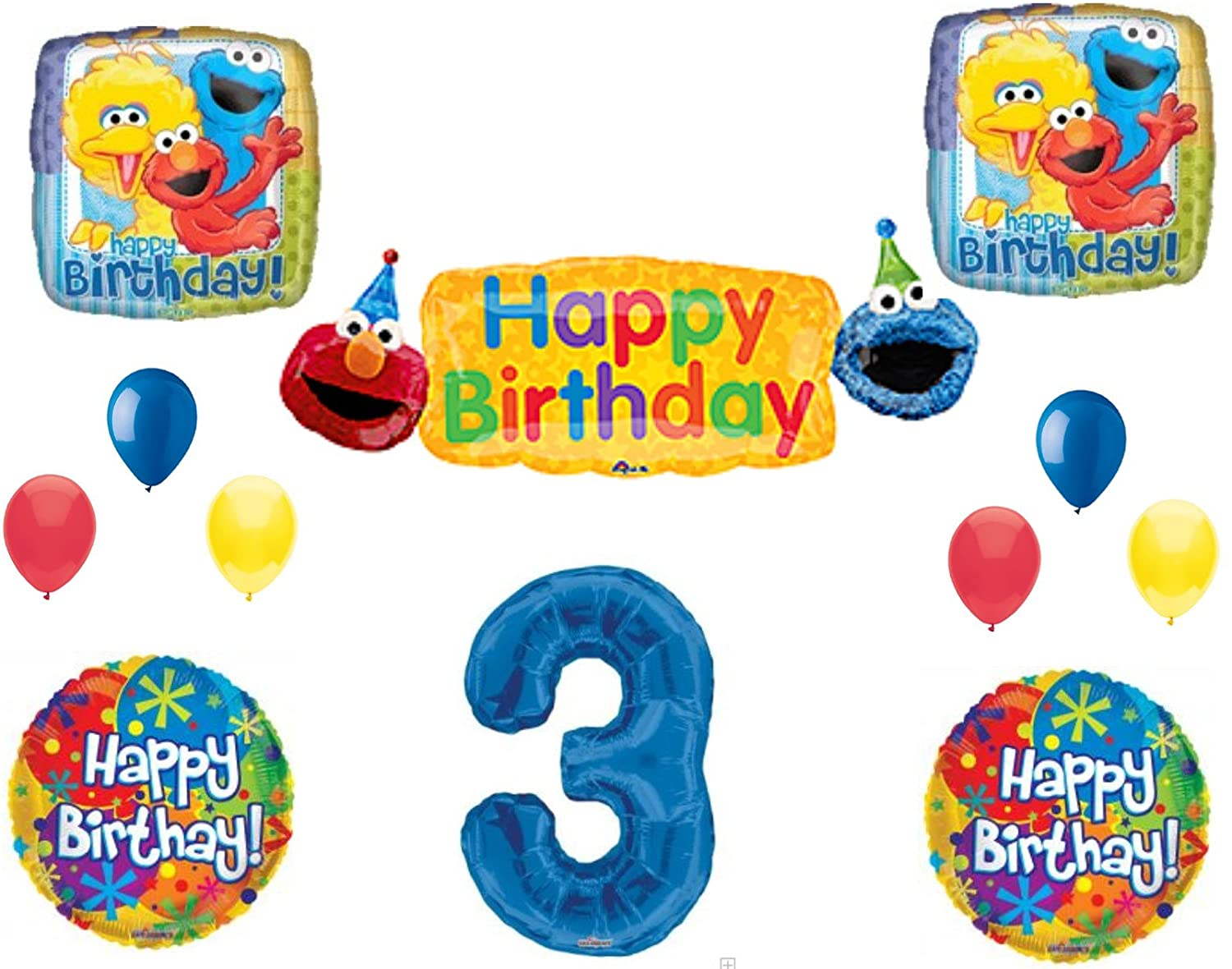SESAME STREET 3rd Banner Happy Birthday Party Balloons Decoration Supplies Elmo Cookie Monster