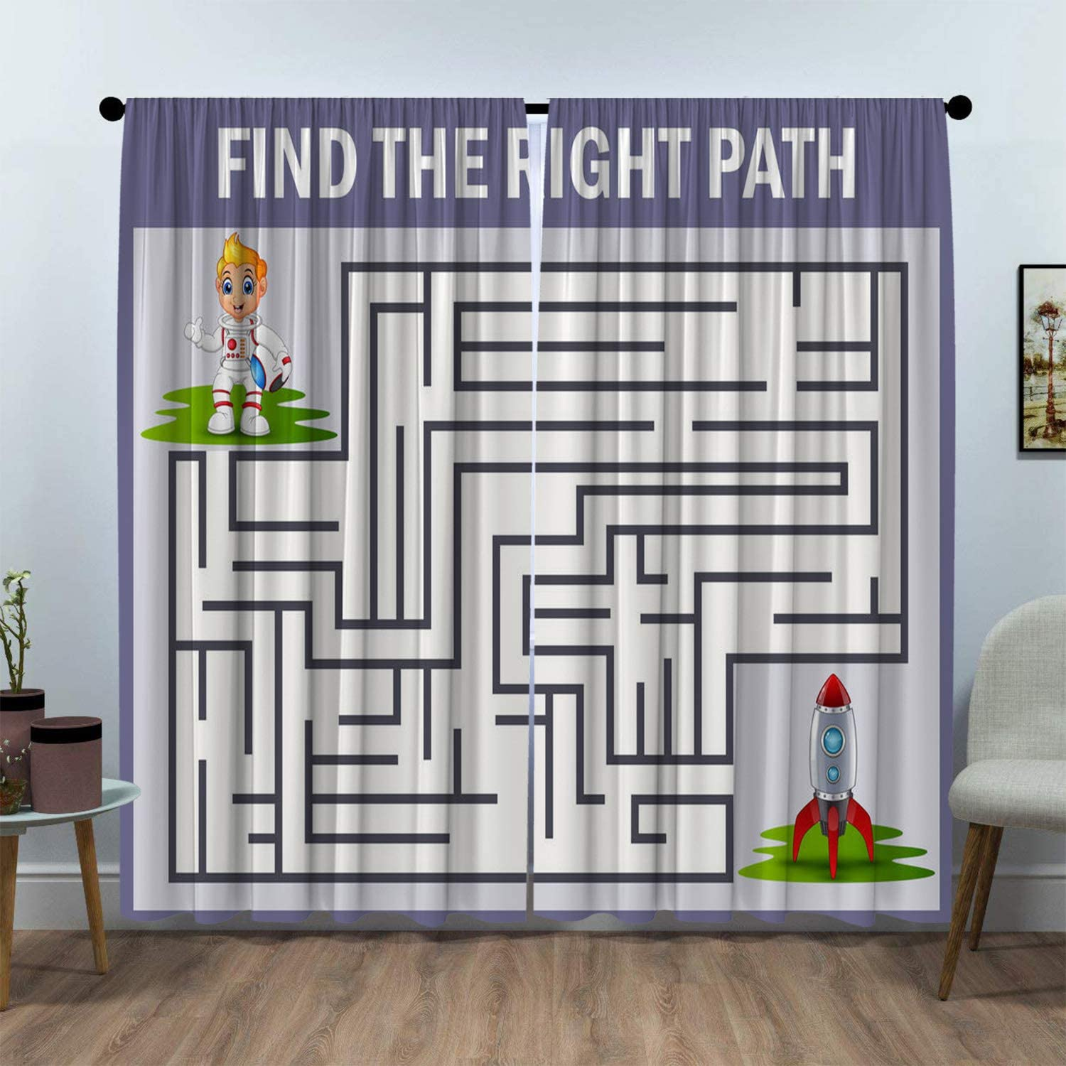 SeptSonne Kids Room Window Curtain Panels Drapes Vector of Maze Game Find Astronaut Way to Rocket for Kids Room curtians Artwork Customized Curtains W72 xL84
