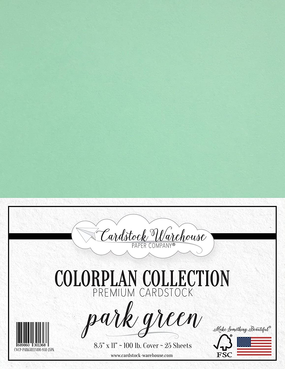 Park Green Cardstock Paper - 8.5 x 11 inch Premium 100 lb. Cover - 25 Sheets from Cardstock Warehouse