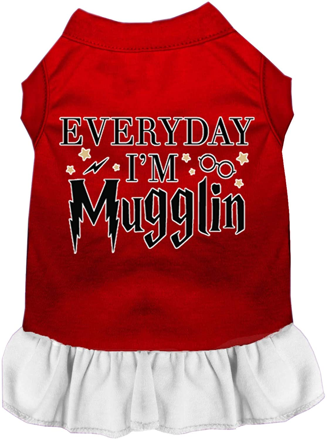 Mirage Pet Product Everyday Im Mugglin Screen Print Dog Dress Red with White Med (12)