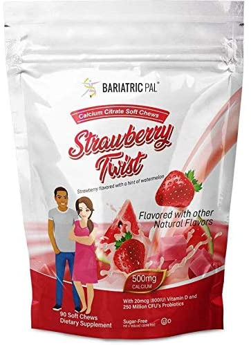 BariatricPal Sugar-Free Calcium Citrate Soft Chews 500mg with Probiotics - Strawberry Twist (90 Count)