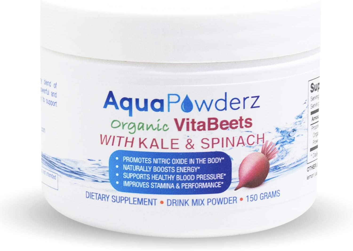 AquaPowderz Organic VitaBeets Powder| Beetroot Powder with Highly Nutritious Kale & Spinach Powder |Promotes Nitric Oxide for Heart Health| Energy |Stamina & Performance |Non GMO | USA |5.29 oz