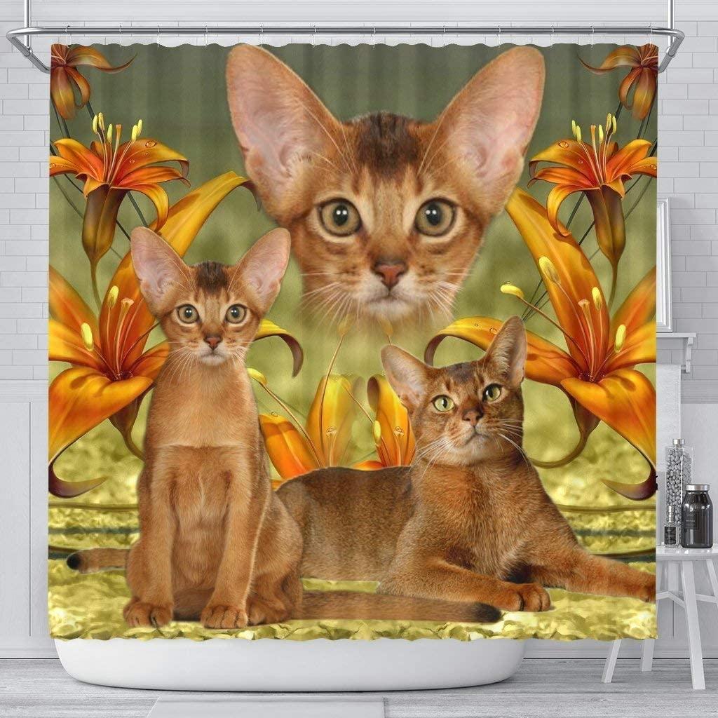 Breedink Abyssinian Cat Print Shower Curtains