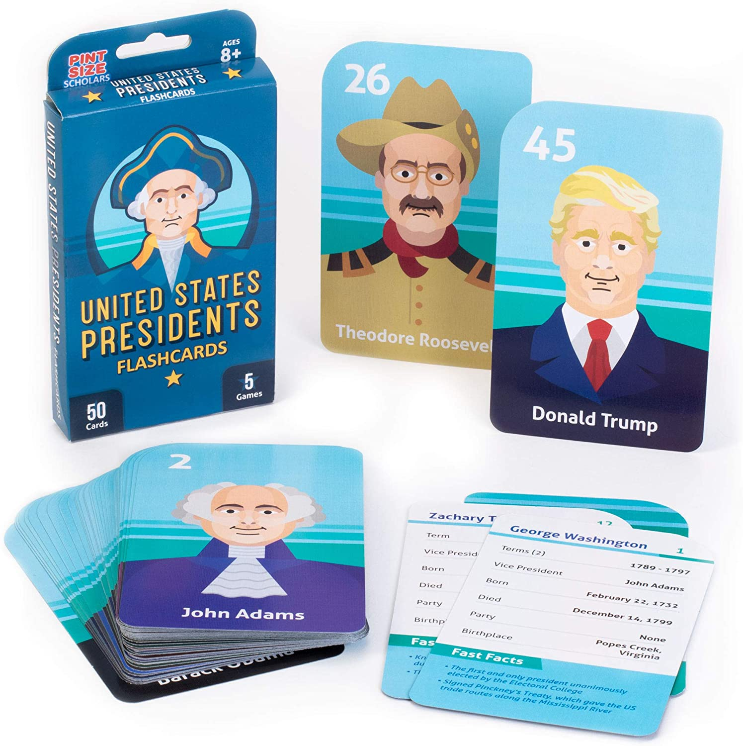 PSS Presidents Flashcard Set - 50 Deluxe Cards!