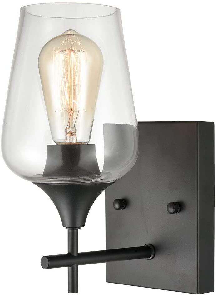 Matte Black Simplicity 1 Light Clear Glass Wall Sconce Industrial Bathroom Vanity Lighting