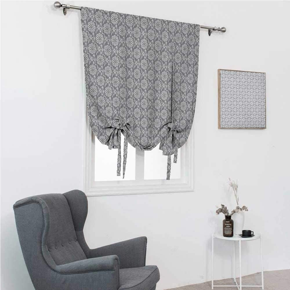 GugeABC Blackout Curtains for Bedroom Grey and White Rod Pocket Curtains for Windows Rich Royal Victorian Garden Pattern Stylized Petals and Leaves Antique Look 35