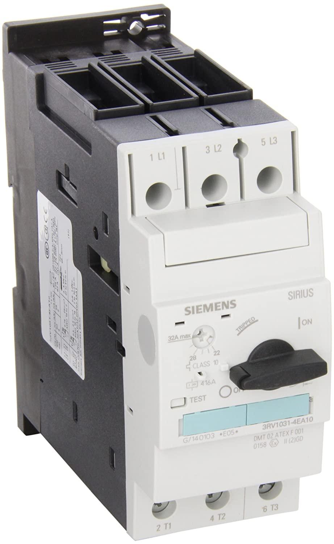 Siemens 3RV1031-4EA10 Motor Starter Protector, Screw Connection, 3RV103 Frame Size, 22-32 FLA Adjustment Range, 416A Instantaneous Short Circuit Release, 65kA UL Short Circuit Breaking Capacity at 480VAC