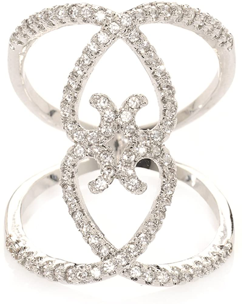 Avery and May White Gold Plated Zircon X Infinity Cross Long Hollow Fashion Ring Bringing Clarity