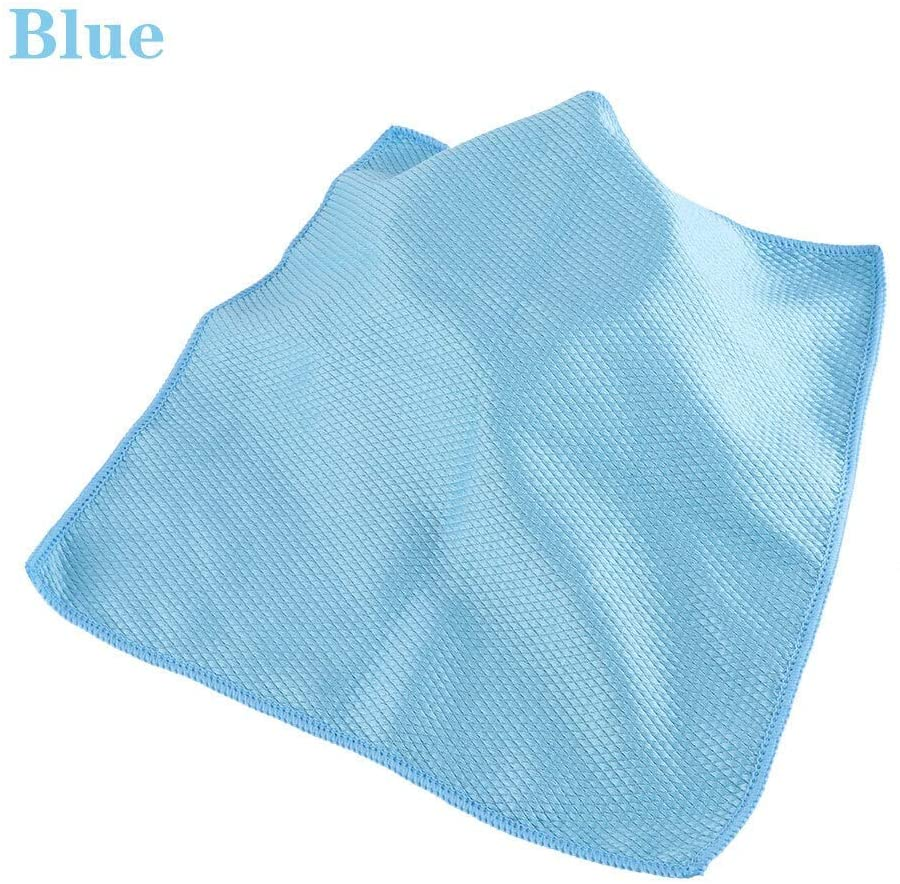 YIBANG-DZSW Dish Cloths 10pcs Household Glass Window Cleaning Cloth Kitchen Absorbent Dishcloth Cleaning Rags Washing Towel Scouring Pad for Kitchen-Fast Drying (Color : Blue, Specification : 10pcs)