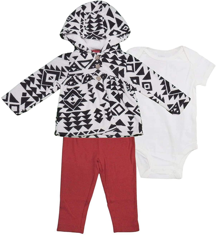 Carters 3-Piece Girls Bodysuit, Leggings, & Overcoat (9 Months, Black/White/Red)