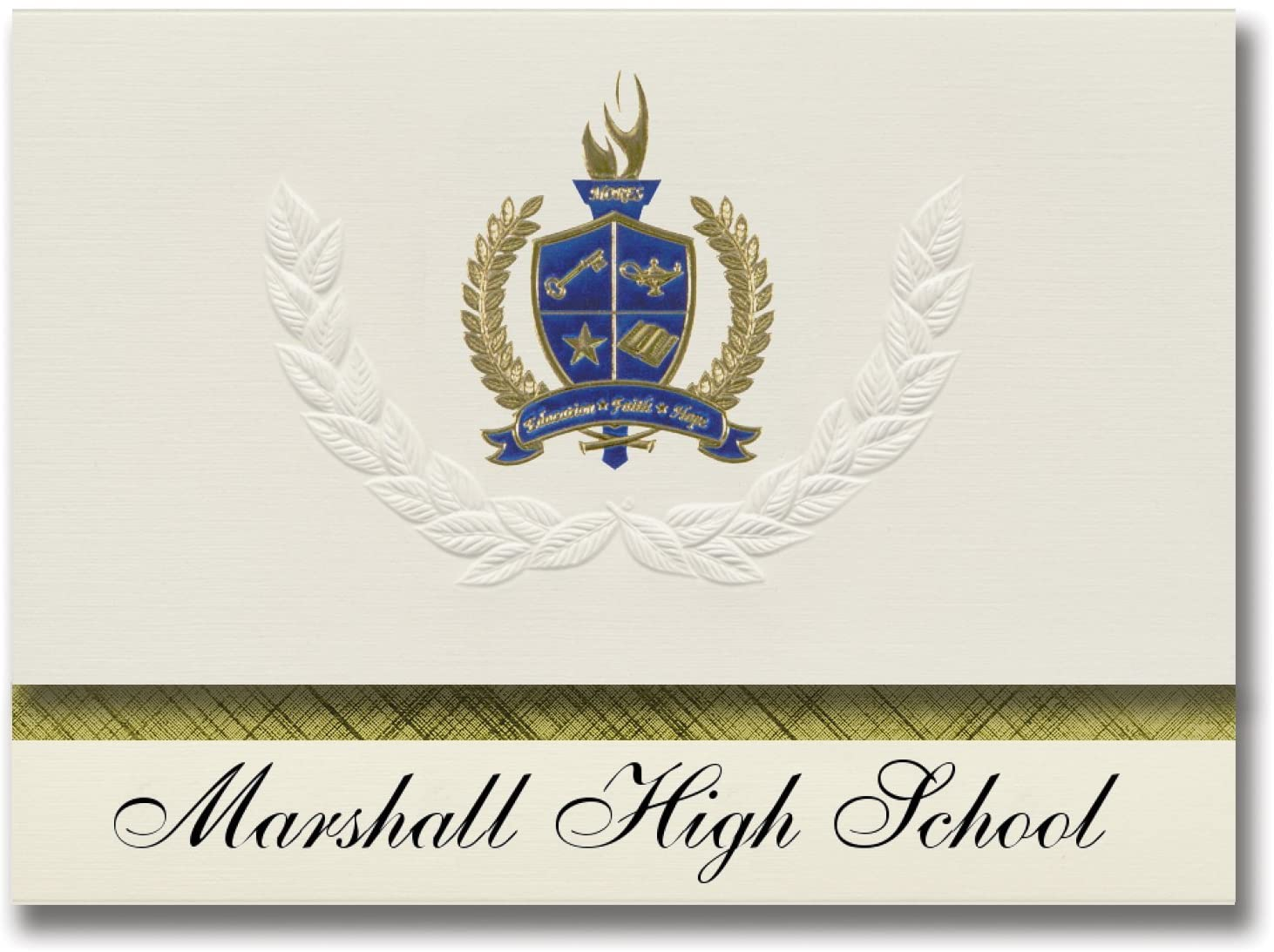Signature Announcements Marshall High School (Marshall, TX) Graduation Announcements, Presidential style, Basic package of 25 with Gold & Blue Metallic Foil seal
