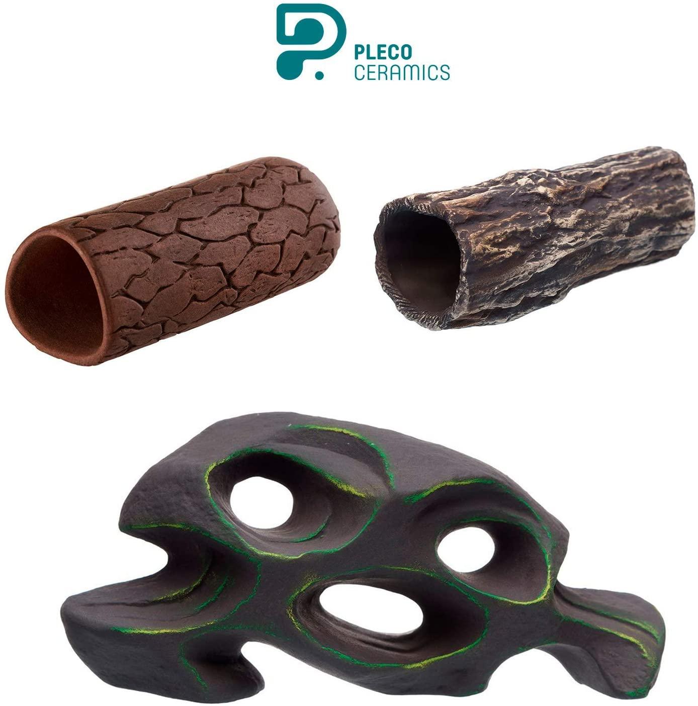 Plecoceramics Pleco Cave M + Pleco Cave Natural + Honeycomb Aquarium Ceramic Decorations Bundle