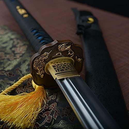 Handmade katana 49 Inch Full Tang Damascus Folded Clay Tempered Naginata Samurai Sword Real Cut Sword Real Buffalo Horn Saya