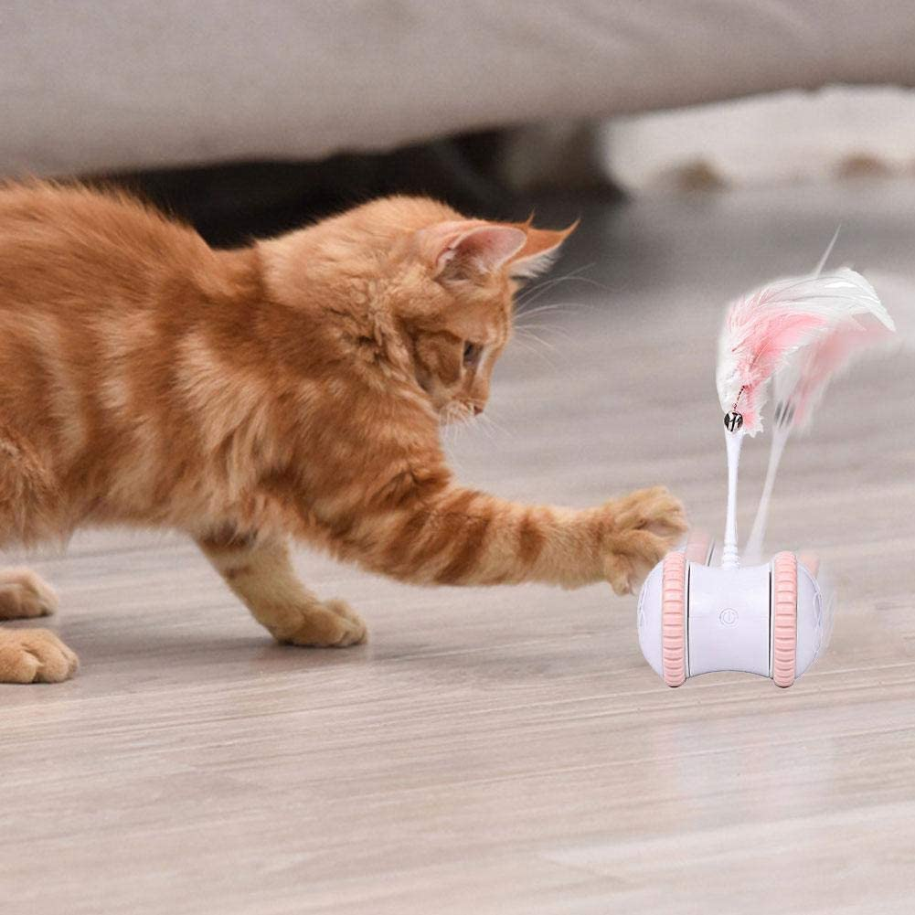 N/W Electric Cat Toy Interactive Electronic Cat Toy USB Charging 360 Degree Self Rotating Ball Automatic Feather Cat Toy for Cat Kitten