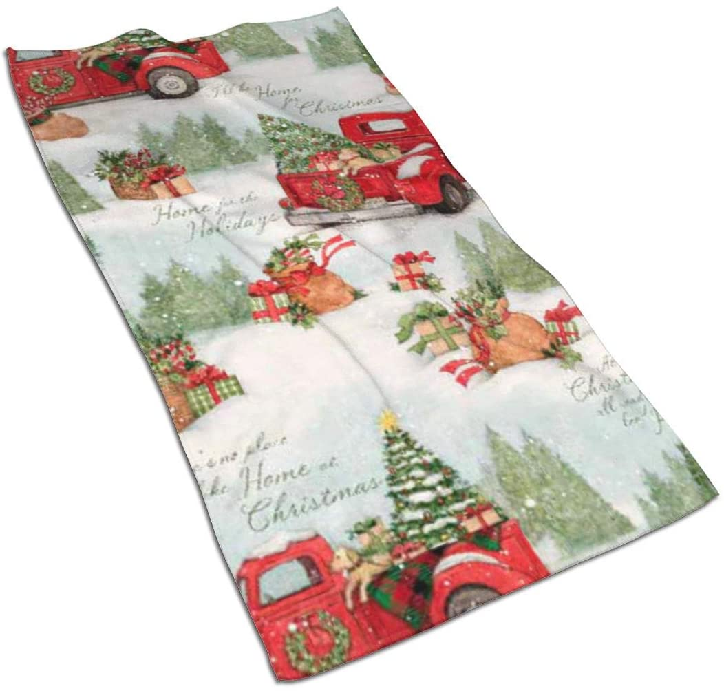 ~ Christmas Red Truck Multi Kitchen Towels ¡§C 17.5x27.5in Microfiber Terry Dish Towels for Drying Dishes and Blotting Spills ¡§Cdish Towels for Your Kitchen Decor