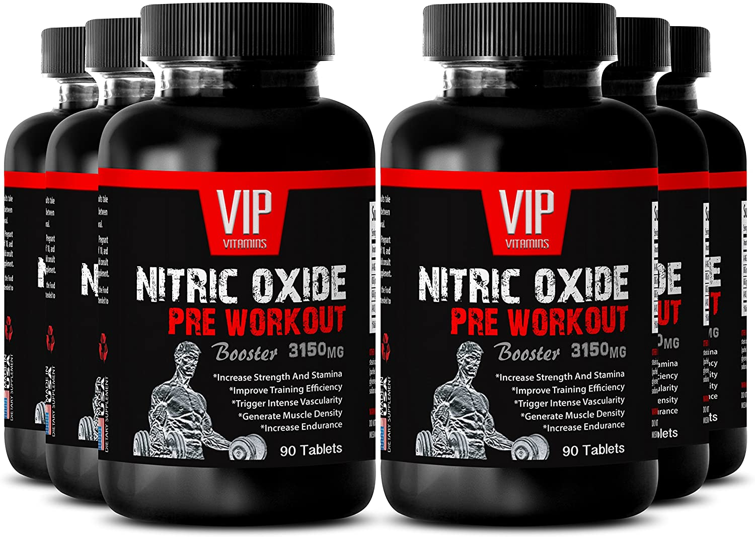 Best Nitric Oxide Power - Nitric Oxide Pre-Workout Booster 3150mg - Strength Workout and Muscle Pump (6 Bottles 540 Tablets)