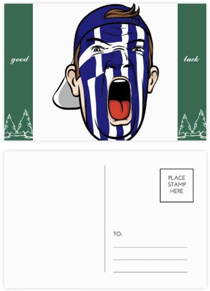 Greece Flag Facial Makeup Mask Screaming Cap Good Luck Postcard Set Card Mailing Side 20pcs