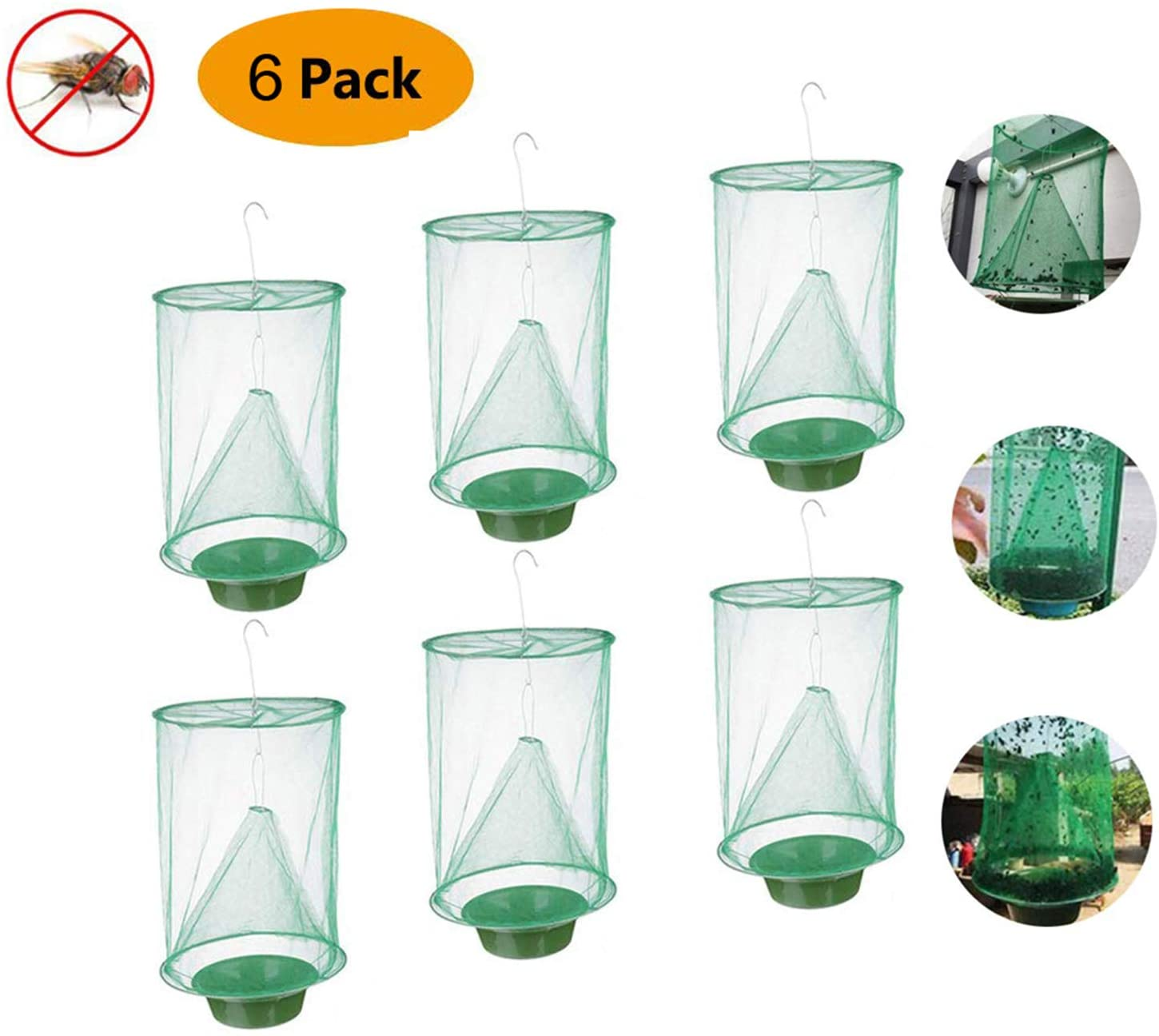 Sutify Ranch Fly Trap with Bait Tray Flay Catcher, Fly Catcher Cage The Most Effective Trap Ever Made with Food Bait Flay Catcher for Outdoor, Family Farms, Parks(6pcs)