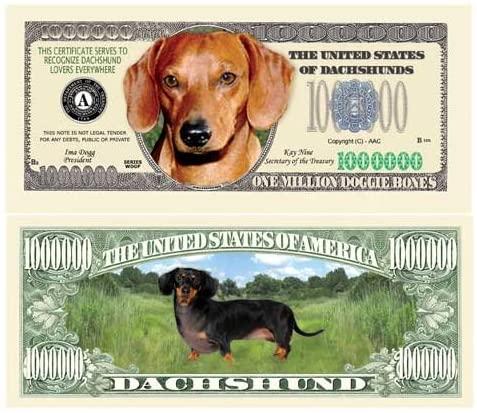 SET OF 5 BILLS-DACHSHUND MILLION DOLLAR BILL