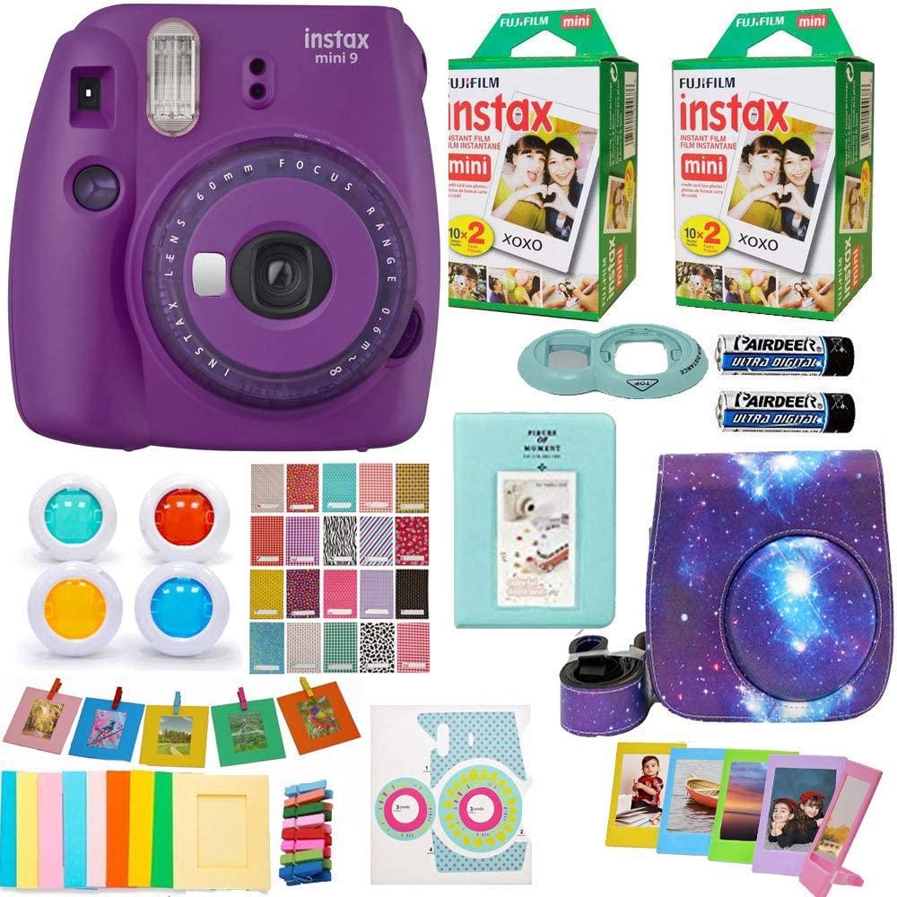 Fujifilm Instax Mini 9 Instant Camera + Fuji INSTAX Film (40 Sheets) Includes Camera Case + Frames + Photo Album + 4 Color Filters and More (Purple)