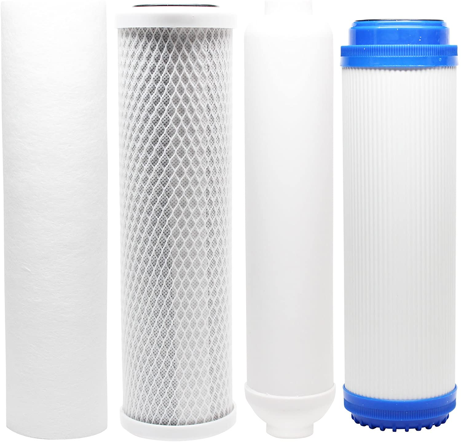 Replacement Filter Kit Compatible with Expres Water RO10MXG RO System - Includes Carbon Block Filter, PP Sediment Filter, GAC Filter & Inline Filter Cartridge - Denali Pure Brand