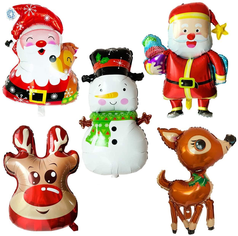 5pcs Christmas Foil Balloons Santa Reindeer Snowman Happy Holidays Giant Balloon Decoration Party Supplies