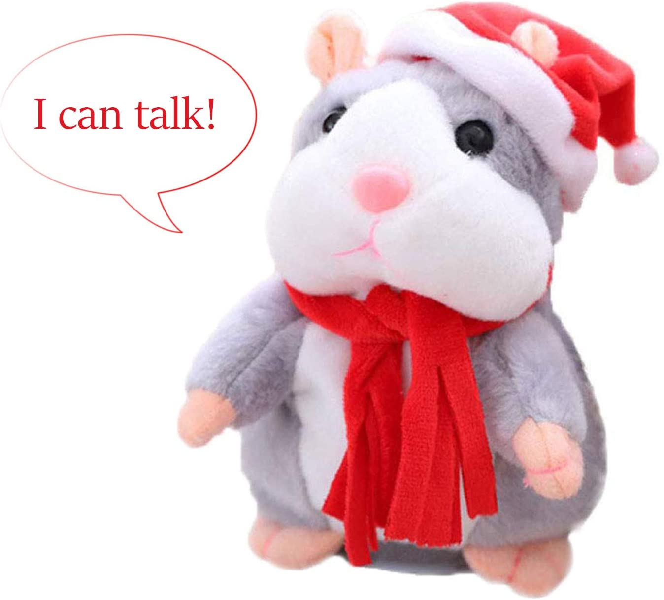VENTIGA Talking Hamster Repeats What You Say Mimicry Pet Plush Buddy Electronic Mouse Interactive Toy Funny Kids Stuffed Toys Children Early Learning for Girl and Boy (Gray)
