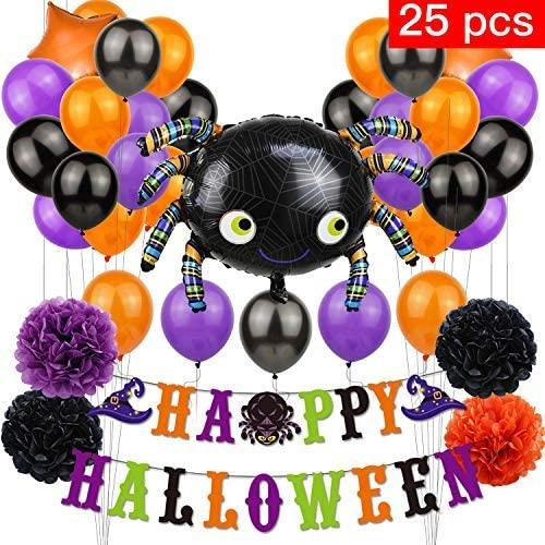 Halloween Foil Balloon Spider Star Balloon Banner Paper Flower Decoration Party Supplies