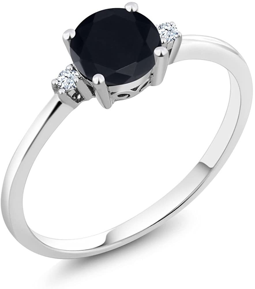 Gem Stone King 10K White Gold Black Zirconia and White Created Sapphires Women Engagement Solitaire Ring (1.53 Ct Round)
