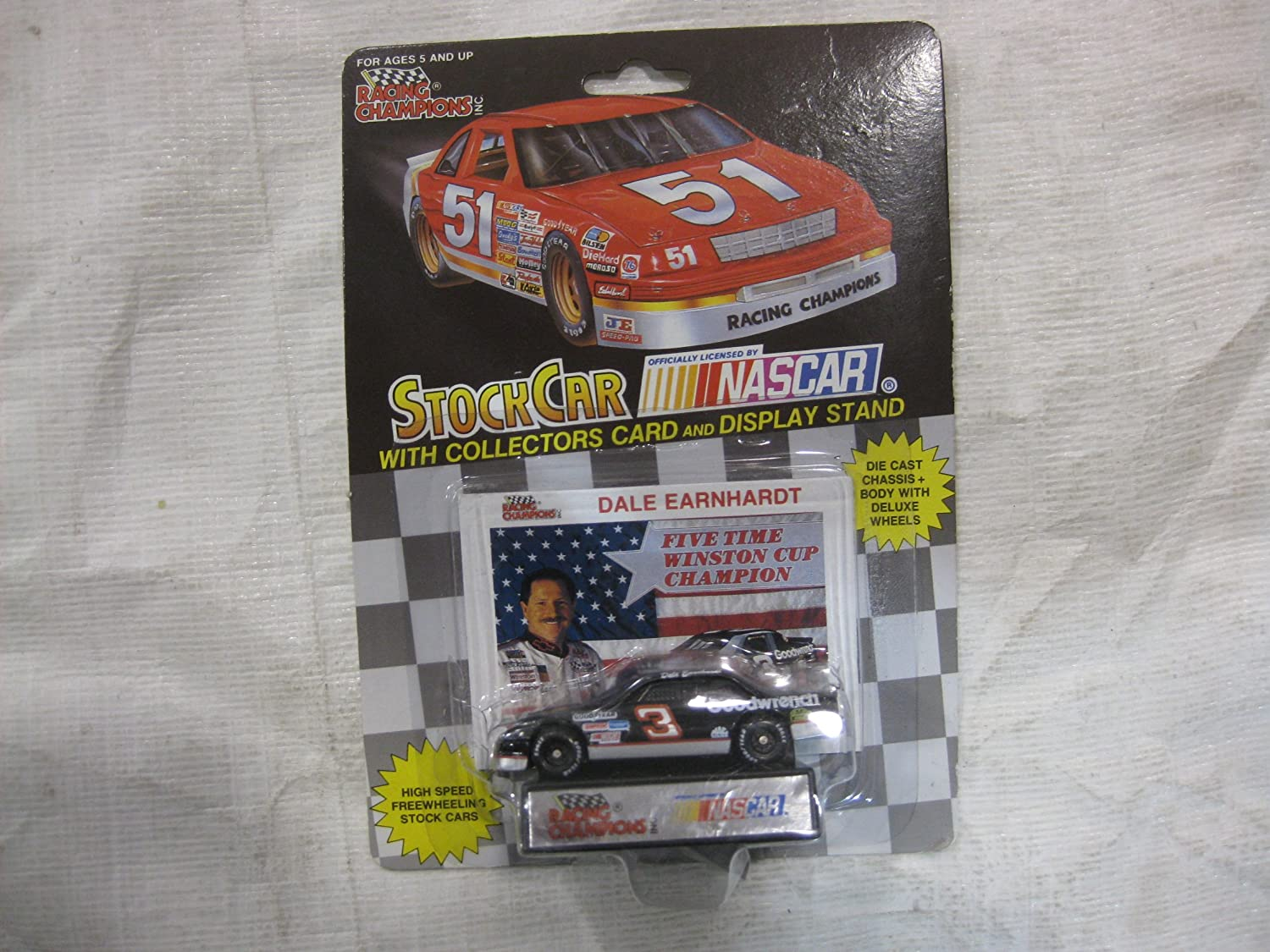 NASCAR #3 Dale Earnhardt, Sr. Five Time Winston Cup Champion Goodwrench Racing Team Stock Car With Driver's Collectors Card And Display Stand. Racing Champions Black Background Red Series 51 Car