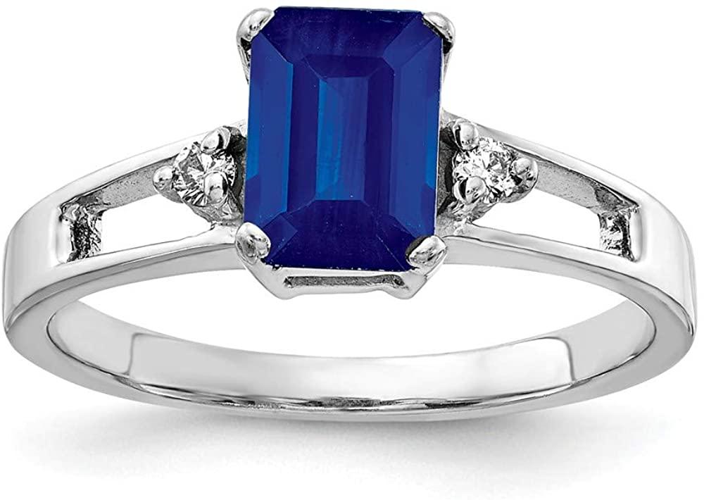 Solid 14k White Gold 7x5mm Emerald Cut Sapphire Blue September Gemstone Diamond Engagement Ring (.04 cttw.)