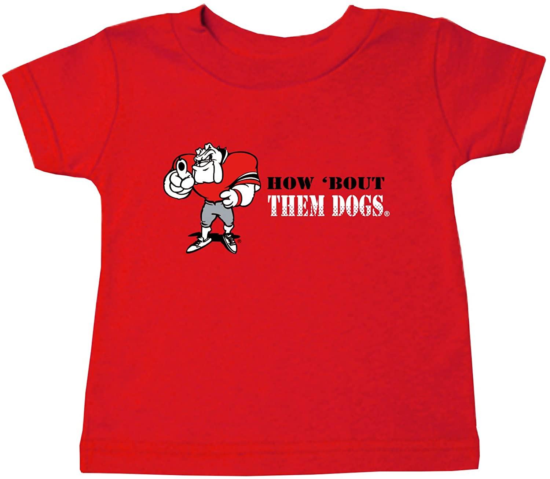 Two Feet Ahead NCAA Georgia Bulldogs Children Unisex Short Sleeve Tshirt,18 Mo,Red