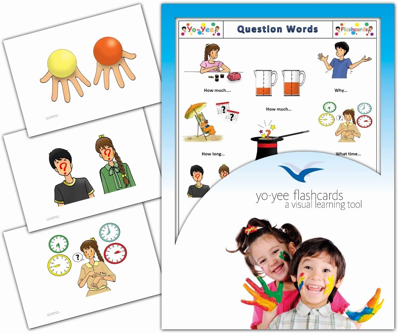 Yo-Yee Flashcards - Question and Interrogative Words Flash Cards - Vocabulary Picture Cards for Toddlers, Kids, Children and Adults