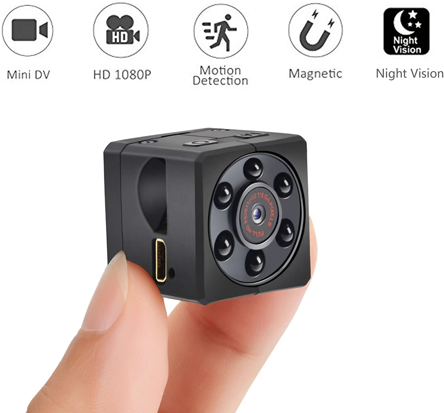 Spy Hidden Camera 1080P Portable Small HD Nanny Cam with Night Vision and Motion Detective Perfect Indoor Covert Mini Security Camera for Home and Office