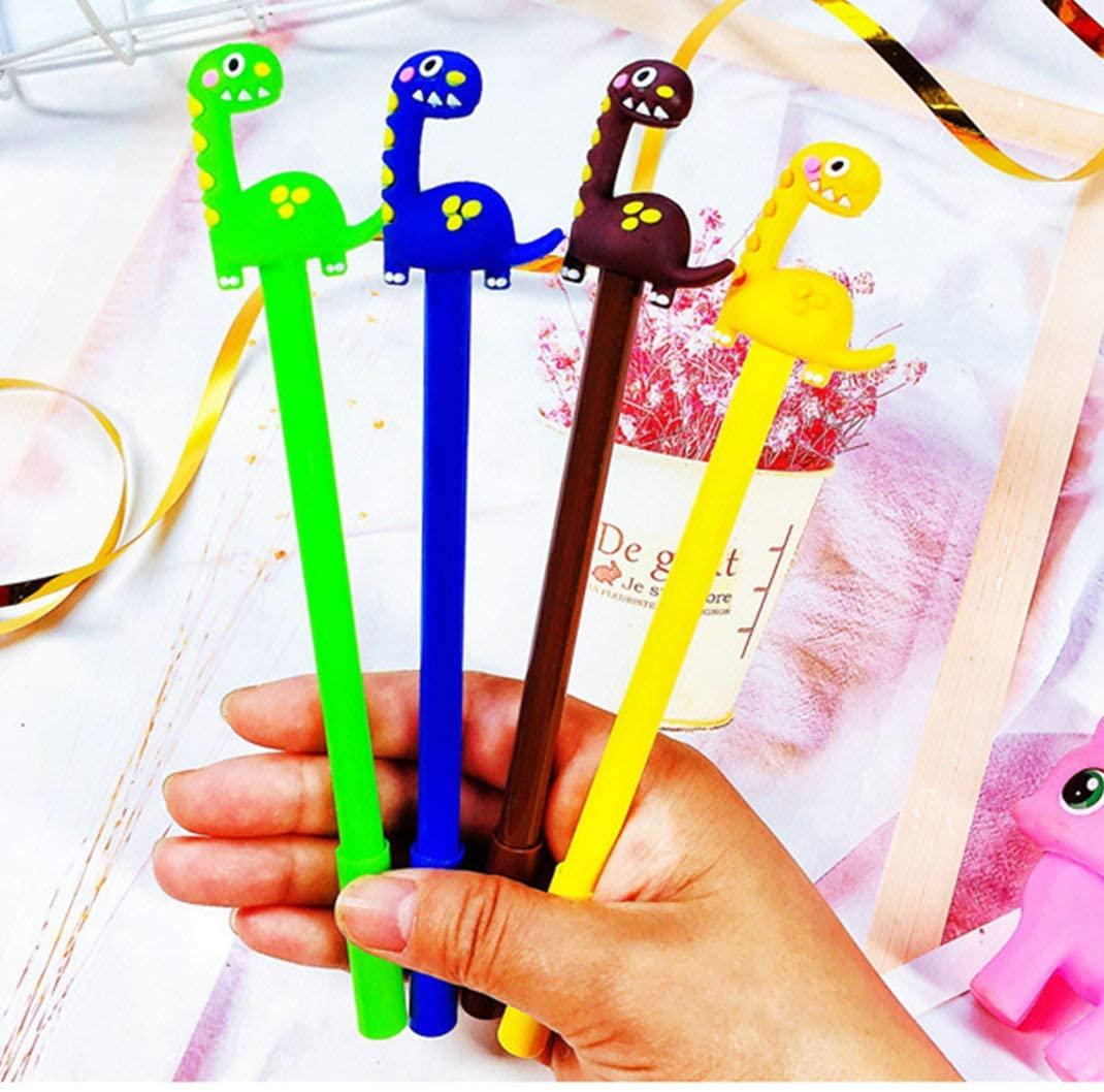 WIN-MARKET Animal Cute Dinosaurs Cone Gel Ink Pen Cute Kawaii Black Writing Pens Ballpoint Black Ink Gel Pen Party Gift Gel Ink Pens Funny School Stationery Office Supplies(6PCS)