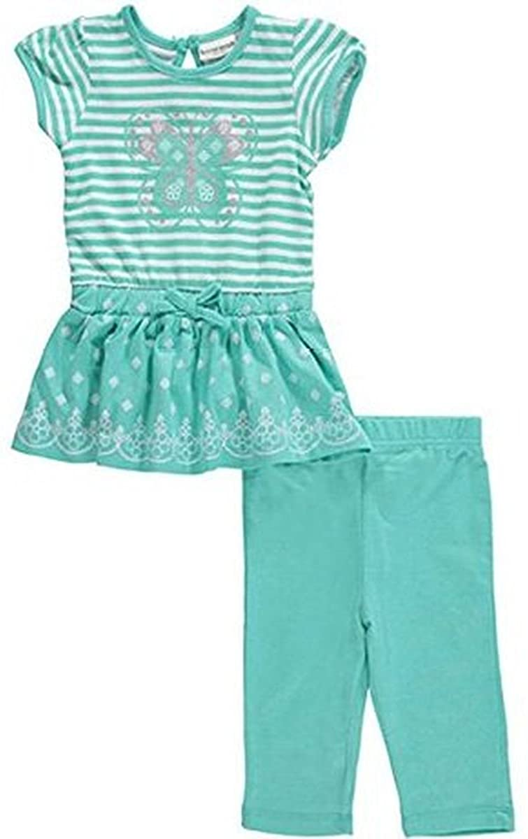 Buster Brown Baby Girls Shimmering Butterfly 2-Piece Outfit - Mint 3T