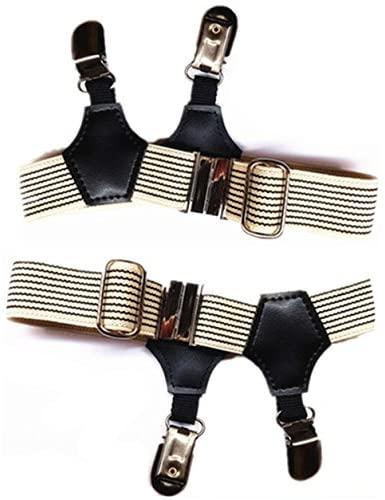 MNYR 2pcs Beige/Black Stripes Sexy Double Clip Thick Thin Fashion Women Men Sock Garter Suspender Costume Cosplay Accessories