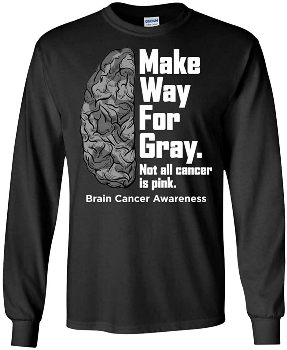 Brain Cancer Awareness Long Sleeve T-Shirt Unisex Make Way for Gray