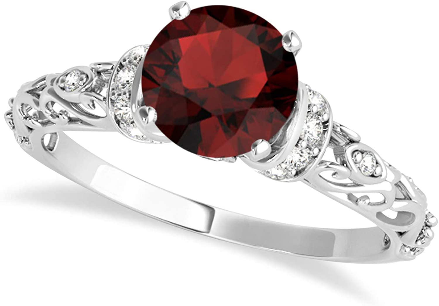 (1.62ct) 14k White Gold Garnet and Diamond Antique-Style Engagement Ring