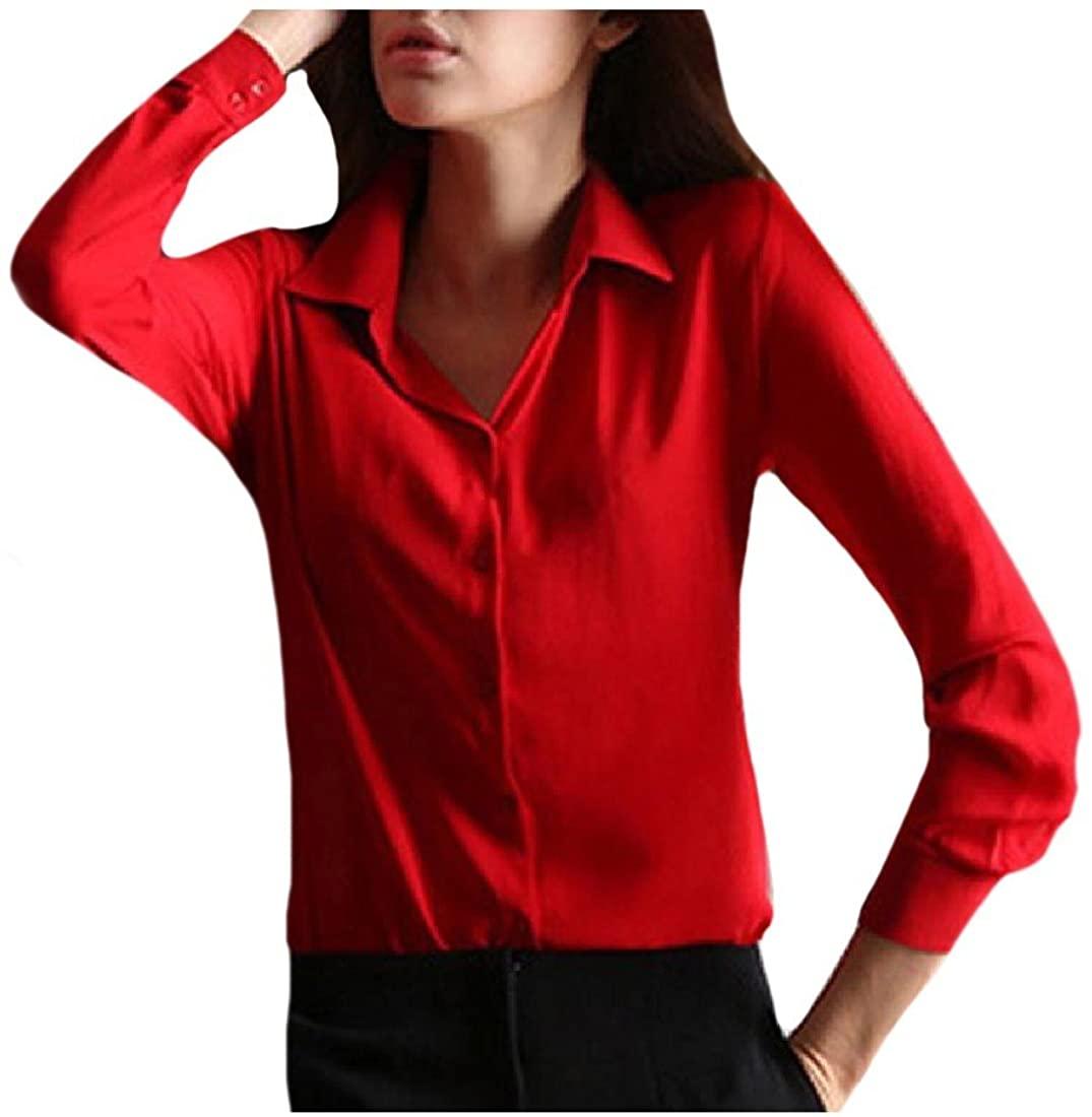 ANDYOU-Women Turn-Down Collar Button Down Long Sleeve Sexy Shirt
