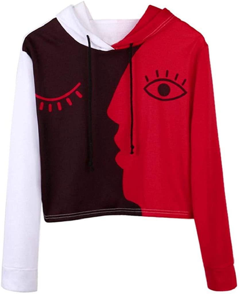 terbklf Short Sweatshirts for Women Girl's Casual Face Printed Patchwork Sweatshirt Crop Top Hoodies Pullover Blouse