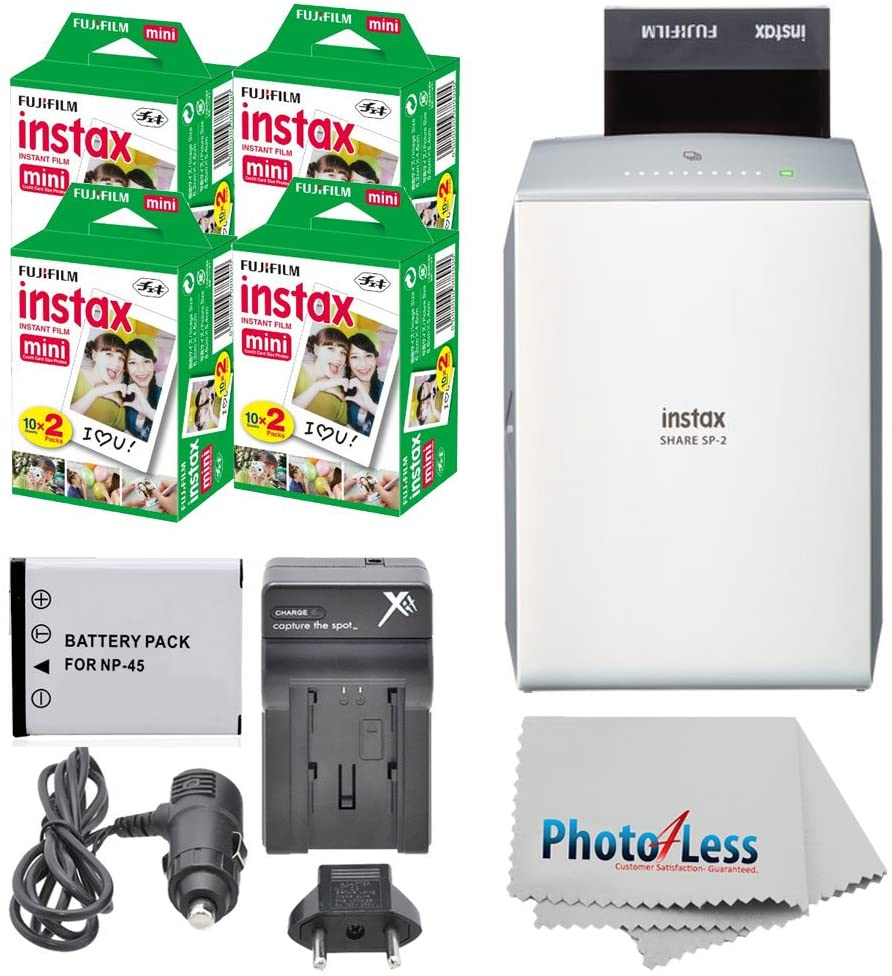 Fujifilm instax Share Smartphone Printer SP-2 (Silver) + Fujifilm Mini Twin Pack (80 Shots) + Travel Charger & Extra Battery + Cleaning Cloth + Filming Bundle - International Version (No Warranty)