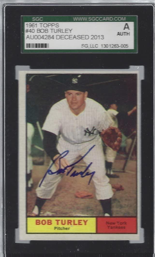 Autographed 1961 Bob Turley New York Yankees #40 SGC Slabbed