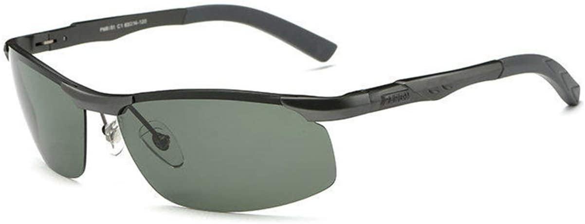 FengNiaoo Outdoor Sports Glasses Aluminum and Magnesium Polarized Sunglasses Sports Sunglasses Cycling Glasses Driver Sunglasses - Gray Box - Dark Green Lenses